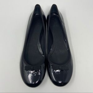 Clarks Black Patent Leather Bow Tie Flats